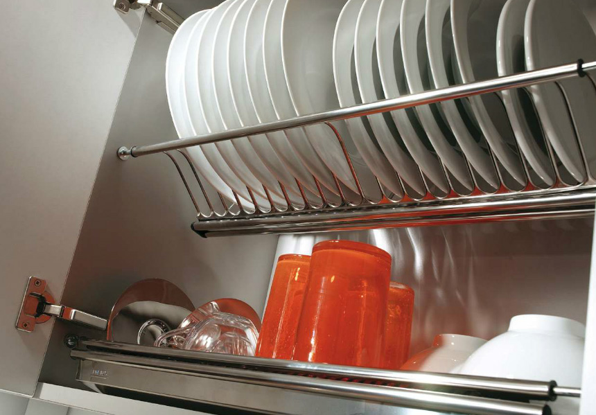 Escurreplatos de acero inoxidable para muebles de cocina