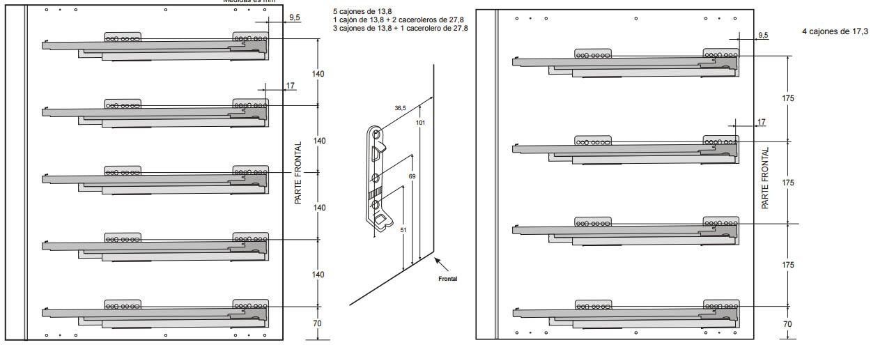 Cajones y gavetas GRASS Nova Pro para muebles de cocina