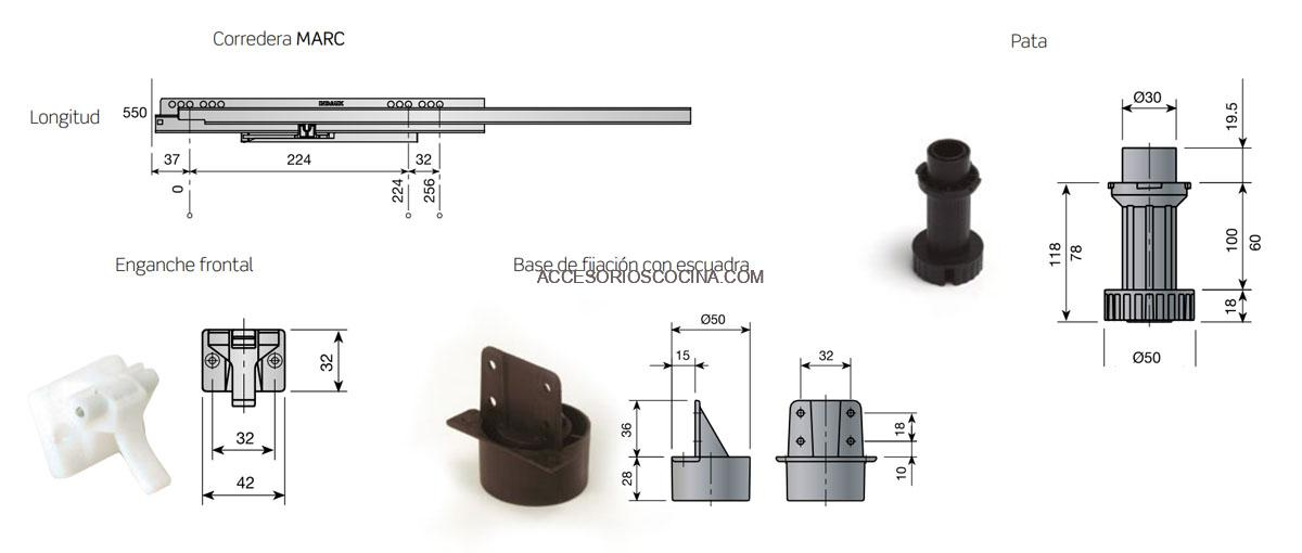 Componentes del cajón bajo horno de 60 cm.